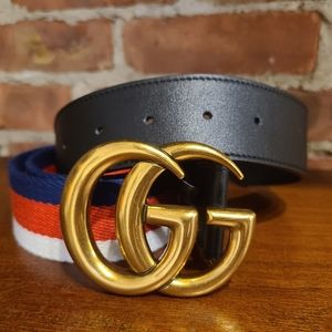 Gucci Gold Brass 1.5 Webb Belt 90cm